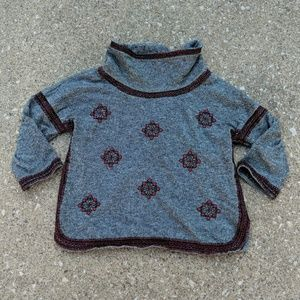 Lucky Brand Embroidered Cowl Neck Sweater